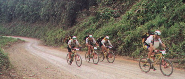 Race on mountain bikes