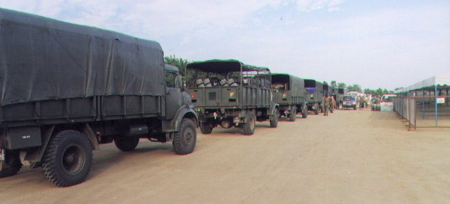 Arrival of army trucks at Silam